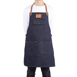 Tablier de Cuisine en Jean Robuste Salopettes Tablier de Service avec Poche Vêtements de Travail Résistant à l'Huile Unisexe pour Restauration Cuisine BBQ(Blue)