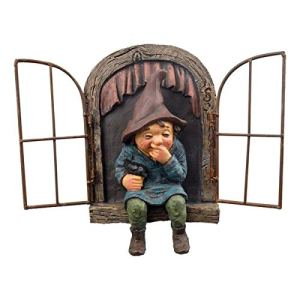 TAIYANYU Giggling GNOME Sitting on a Window sill, elf Out The Door Tree Hugger Yard Art Outdoor Resin GNOME Statue Garden décor