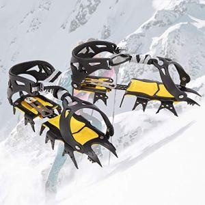 TBDLG Crampons Alpinisme,18 Dents Véritables Pointes en Acier Inoxydable et Silicone Durable,Anti-Slip Crampons de Glace Crampons de Neige pour la Marche,Randonnée,Alpinisme en Hiver