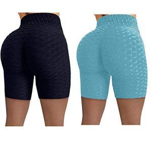 TTivxe Lot de 2 pantalons de course pour femme – Taille haute – Élastiques – Short de yoga court – Short de yoga (bleu clair 1, XXL)