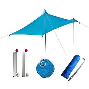 Upupto Beach Shelter Sunshade, Tente de Plage Hammock Rain Fly Tarp avec 4 Ancres de sandbag et Sac de Transport,300 * 300cm