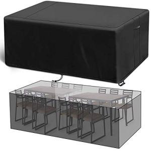 Viewee Housse Salon de Jardin Imperméable, Bâche Tissu Oxford Solide,Housse pour Table Anti-Vent/UV/Pluie/Poussière avec Boucle de Verrouillage(200 * 160 * 70cm)