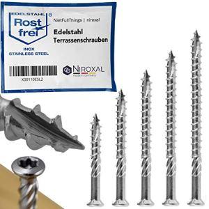 Vis terrasse en acier inoxydable TORX avec tête à encoche de coupe cylindrique et côtes pelables en V2A Épaisseur de 5-mm Longueur de vis de 60-mm 100 pièces Fil partiel de 39-mm 5×60