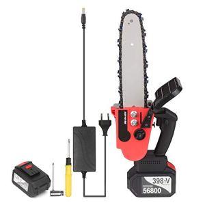 Voupuoda Scie à chaîne sans fil 21 V sans fil Chargeur rapide de batterie 4 Ah inclus Kit de scie d'élagage électrique portable à tension automatique de 10 pouces pour l'abattage d'arbres et la coupe
