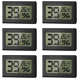WeChip Digital LCD thermomètre hygromètre Température Humidité Testeur,Mini compteur d'humidité intérieur et extérieur Thermomètre-50~70 ℃ 10% ~ 99% RH (6 PCS-noir )