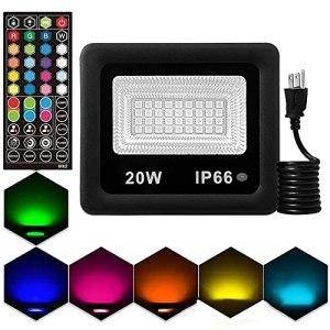 WRQING Projecteurs LED RGB Dimmable, Réglage Télécommande 44 Touches, 20 Couleurs et 6 Modes/DIY, IP66 Étanche, Spot LED Couleur Extérieur pour Déco d'Ambiance, Arbre, Cour, Fête (Color : Black)