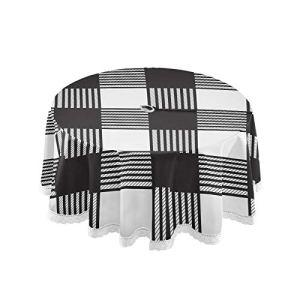 Xigua Nappe ronde blanche et noire avec trou pour parasol et fermeture éclair – En polyester anti-fuites – Pour cuisine, terrasse, jardin, fête, pique-nique