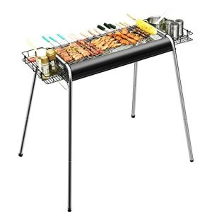 YANGYUAN Barbecue Grill, Grill barbecue charbon Portable, Cuisinière Grill Camping, barbecue outil pliable en acier inoxydable Kit, Outdoor Party Voyage camping en plein air de pique-nique, barbecue T