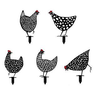 Zueyen Lot de 5 poules réalistes – Décoration de jardin – Décoration en forme de poulet – Silhouette de cour – Pour pelouse, chemin, trottoir, jardin