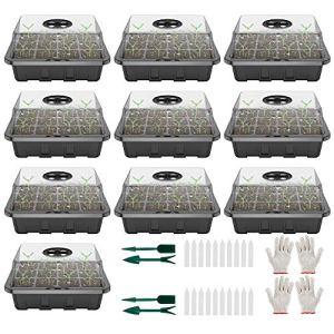 10PCS Bacs à semis en Plastique,12 Trous Plateau de Semis avec 2 Paire de Gants,Mini Serre pour Semis avec Couverture d'air Réglable pour Emarrage et Croissance Semence (Noir épaissi:10PCS)