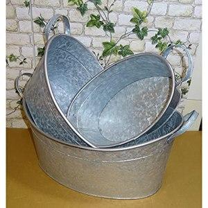 1a-becker Lot de 3 bacs à fleurs en zinc avec poignées 39-47-53 cm