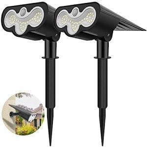 【2 Pack 39 LED】 Lampes Solaires Exterieures Jardin,Kdorrku Spot Solaire Etanche Applique d'extérieur Eclairage Projecteur Solaire Réglable Sécurité pour Jardin Garage Chemin