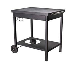 ACTIVA Table de barbecue à roulettes pour rôtissoire à gaz Plancha L73 x l55 x H77 cm – Table d'appoint en métal avec grande surface de rangement – Chariot pour barbecue, cuisine d'extérieur,