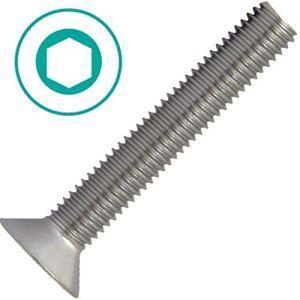 AG-BOX® Lot de 10 vis à tête fraisée M10 x 80 mm à six pans creux (10 pièces) – Filetage plein en acier inoxydable A2 (V2A) DIN 7991 à tête fraisée