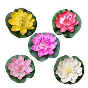 Amosfun Lot de 5 décorations de piscine en plastique Motif fleur de lotus 10 cm