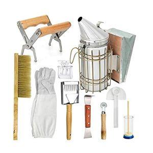 Apiculture Outils Set Apiculteur Équipement Kit avec double rangée Brosse Bouteille de fumée alimentation Conteneurs décoratifs pour la maison apicoles