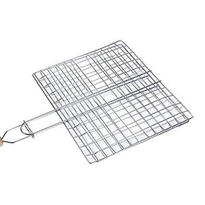 Barbecue Griller Panier, Portable Antiadhésives Electroplated Fil De Fer Poignée En Bois Porte-barbecue Grill Outil Pour La Viande De Poisson Légumes (39 * 22cm)