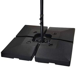 BB Sport Lestage pour parasols Dalles de Parasol pour Parasol déporté – Pied en Croix Noir 90 litres / 120 kg – Peut être rempli d'eau ou de Sable