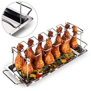 Blumtal Support Poulet – Support Cuisse De Poulet – Support Poulet Barbecue – Acier Inoxydable Robuste pour 12 cuisses de poulet, Passe au Lave-Vaisselle