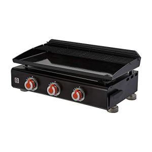 BRASERO – Plancha Silvia II G 3 Feux Surface Cuisson 67 x 34 cm – 3 brûleurs – Plaque Acier émaillée – Grille de réchauffement – Piezo intégré – Tiroir Graisse – Jusqu'à 10 convives – 7,5 KW