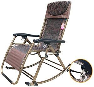 BSQT Chaise à Bascule zéro zéro Pliable en Plein air, Chaise Longue surdimensionnée en Plein air pour Les Personnes Robustes – Support 440lbs (Color : A)