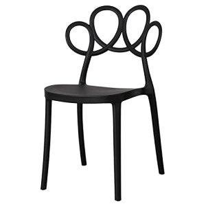 Chaise de salle à manger minimaliste moderne pour les loisirs, le balcon, le jardin – Chaise nordique avec main courante – Couleur : noir