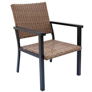 C-Hopetree Chaise Longue d'extérieur pour Porche extérieur, Structure en métal, Osier Naturel Tous Temps