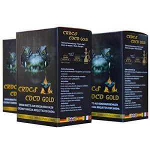 CROCS COCO Charbon pour chicha Gold – Charbon de noix de coco avec une longue durée de combustion – Faible dégagement de fumée – Charbon naturel durable – 3 kg