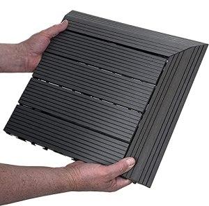 Dalles Terrasse Composite, Carreaux De Bois ImbriquéS pour Sols Fissures Anti-Moisissure Anti-Impact Anti-âGe La Couleur est Stable Et DéColore , Pour Jardin Patio Balcon 10 PièCes 30x30cm ,Noir