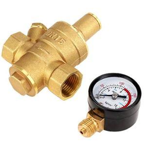 DierCosy Tools Régulateur de Pression d'eau avec Compteur Gauge, MAGT DN15 Laiton Pression réducteur d'eau régulateur de Pression réglable Réducteur