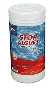 EDG by AQUALUX INTERNATIONAL Stop Algues Moutarde pour Piscine – Spécial Anti Algues Jaune – Super Concentré – Solution Ciblée – Double Fonction Préventif Curatif – Pot 1kg – Poudre