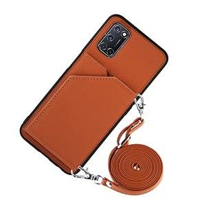 Étui portefeuille pour cartes de crédit avec cordon pour téléphone portable OPPO A52/A72/A92 (Kaki)