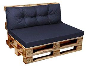 Garden factory Coussins pour Canape Euro Palette pour Meubles en Palette V1 Set (Assise 120×80+Dossier 120×40) Bleu Foncé