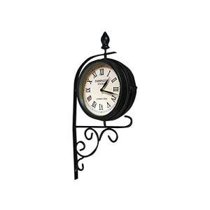 Garden Mile® Grande horloge murale vintage moderne de style rétro pour intérieur et extérieur Décoration de clôture avec thermomètre et baromètre Résistant aux intempéries