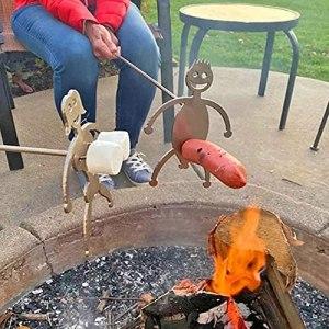 GFITNHSKI 2pcs Acier Hot Dog/Guimauve torréfiants, Femmes drôles Hommes en Forme d'acier en Acier Inoxydable Cap Stylo rôtissant, fourrages métalliques Barbecue fourchettes pour feu de Camp, Fourche