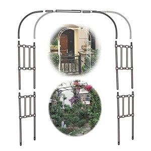 Gnova 1 Jeu de Jardin métal Arche,Arceau de Jardin pour Mariage sur pelouse, décoration,Noir pergola pour Support de Plante grimpante,Hauteur 2.67m,Largeur 1.2m à 3m
