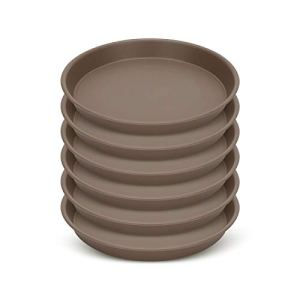 Growneer Lot de 6 soucoupes de 30,5 cm pour pots de fleurs de moins de 25,4 cm de diamètre, ronds en plastique pour pots de fleurs pour intérieur et extérieur, marron