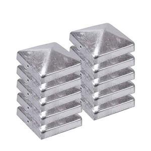 H2i Lot de 10 capuchons galvanisés pour poteaux de clôture 71 mm / 91 mm / 96 mm / 101 mm / 11 mm / 121 mm (111 x 111 mm)
