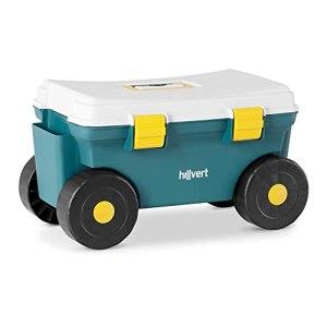 Hillvert Siège De Jardinage Chariot De Jardin 4 Roues Tabouret Coffre À roulettes Banc HT-RUNDLE-9 (Capacité 80 kg, 4 Grandes Roues, Assise Confortable, Compartiment De Rangement, Plastique)