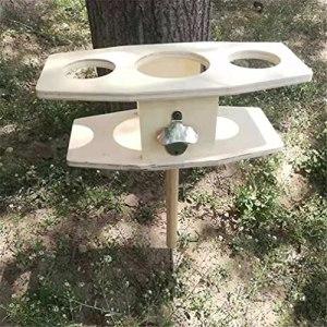 HOOJUEAN Table à Vin Extérieure Pliante Jardin Table de Camping Table de Bâton Portable Support de Verre à Vin pour Cadeau Amateur de Vin D'arrière-courRectangle
