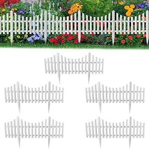 HYBHSCL Clôture de Piquet, Cordettes Blanches Clôture de piquetage de Jardin, clôture de décoration de Mariage de Jardin, avantage de Bordure de Jardin en Plastique détachable (5Pack)
