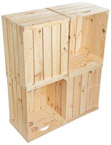 Kistenkolli Lot de 4cagettes à fruits/vin En bois massif style rétro 50x 40x 30cm Neuf