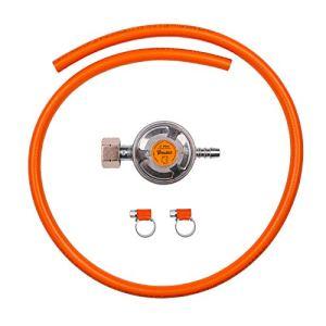 Kit de connexion pour appareils de gaz propane butane comprenant un régulateur de gaz basse pression 37 mbar, 1,5 kg/h avec valve d'urgence, tuyau de 1 m et 2 colliers de serrage