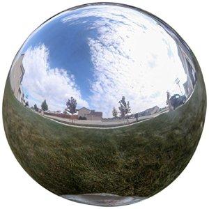 Lily's Home® Contemplation devant la Globe Boule miroir en acier inoxydable Argenté, Acier inoxydable, Silver, 20,3 cm