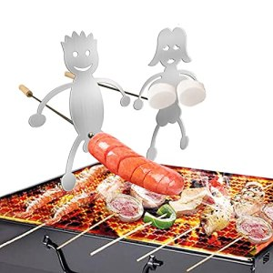 Lot de 2 plats à rôtir en acier inoxydable en forme de hot dog et guimauve – Pour feu de camp ou feu de camp – 10,8 x 15 cm