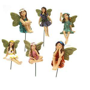 Lot de 6 mini fées de jardin d'extérieur résistantes aux intempéries – Décoration de jardin – Ange – Accessoires pour maison de poupée (A)