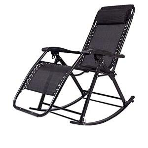 LUGEUK Chaise de gravité à Bascule zéro avec Oreiller en appuie-tête Pliant Chaise Longue Pliable pour la Piscine, la pelouse et la terrasse, Noir
