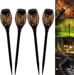 Lumières Solaire Flammes, 12 LED Lumières Solaire Extérieur avec Dancing Flames Solaire pour Décor, Jardin, Patio, cour extérieure (4 piezas)