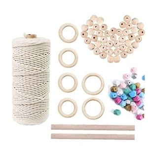 Macramé cordon en coton naturel Outils tissage bricolage Kit pour Craft maison, plantes Matériel de culture