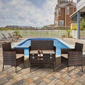 mashi maro Ensemble de meubles de jardin en rotin, 4 pièces comprenant 2 fauteuils, 1 siège et 1 table basse en verre trempé Marron dégradé